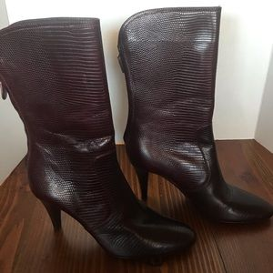 Cole Hann size 7 reddish brown snakeskin boots